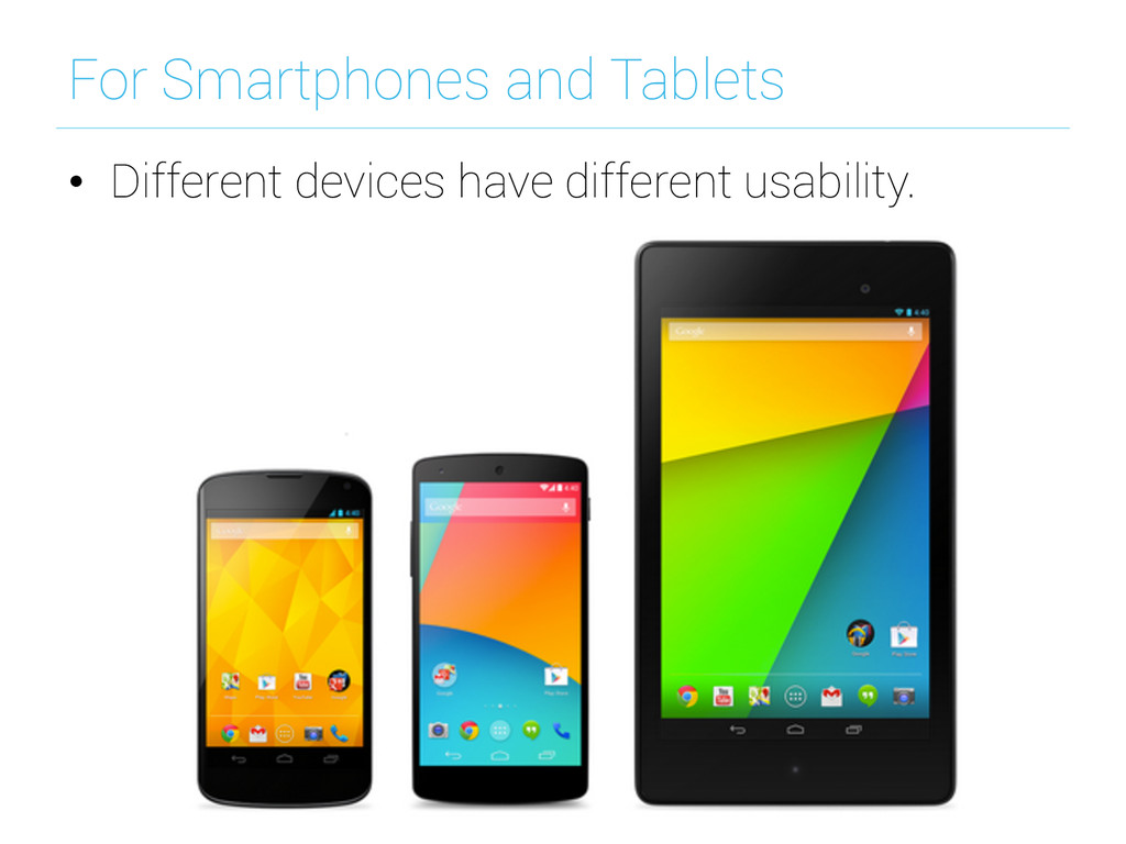 For Smartphones and Tablets • Different device...