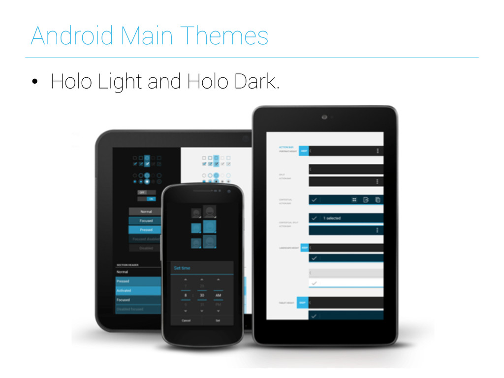 Android Main Themes • Holo Light and Holo Dark.