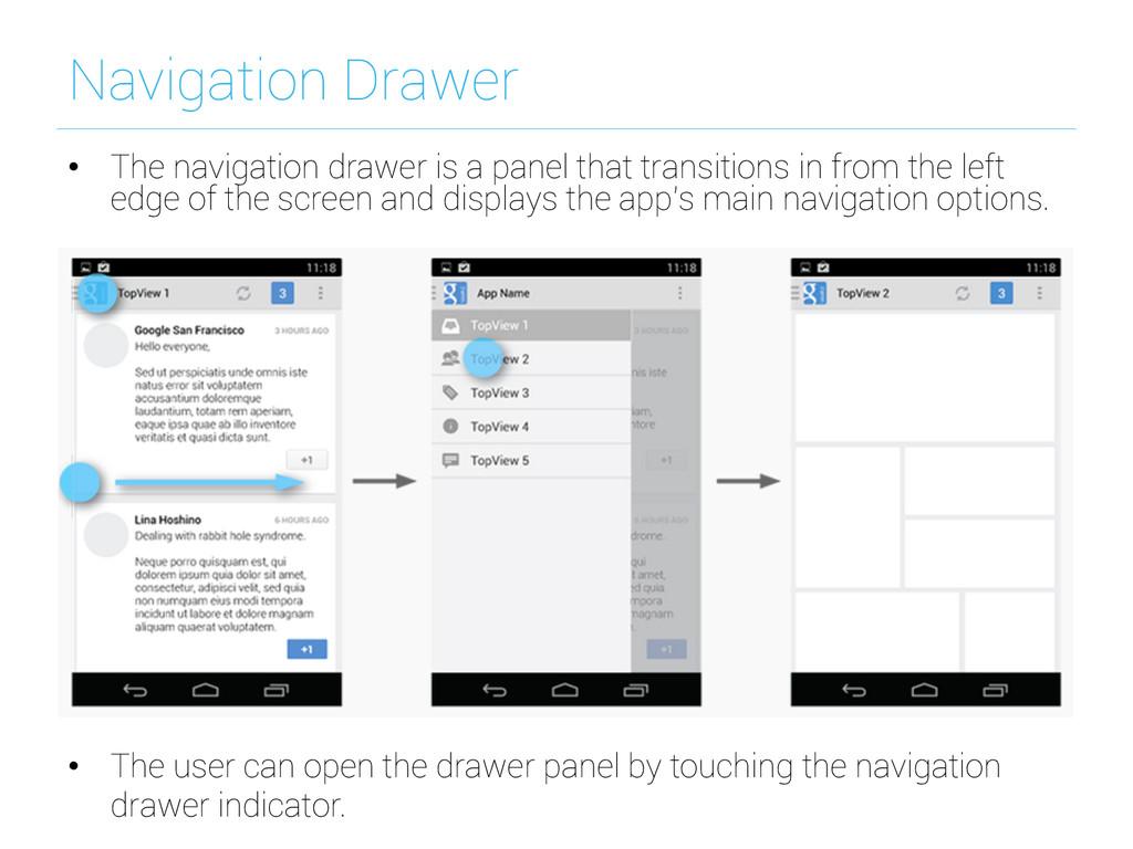 Navigation Drawer • The navigation drawer is a...