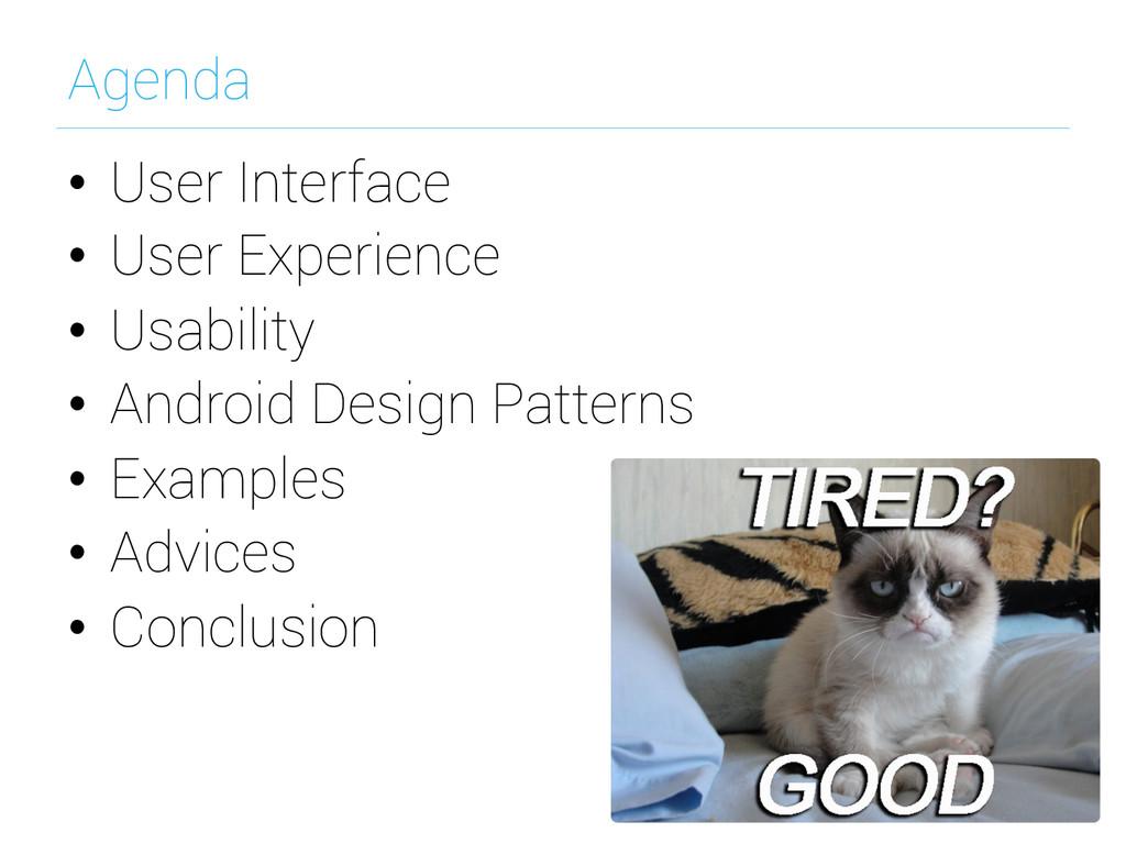 Agenda • User Interface • User Experience • ...