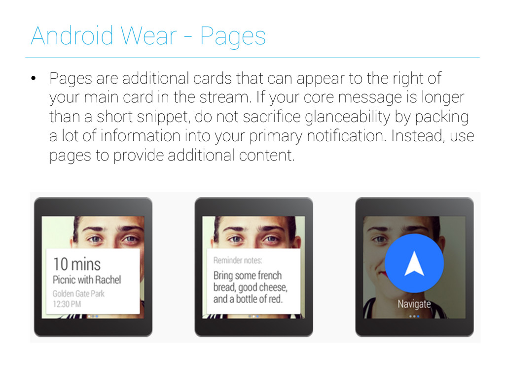Android Wear - Pages • Pages are additional ca...