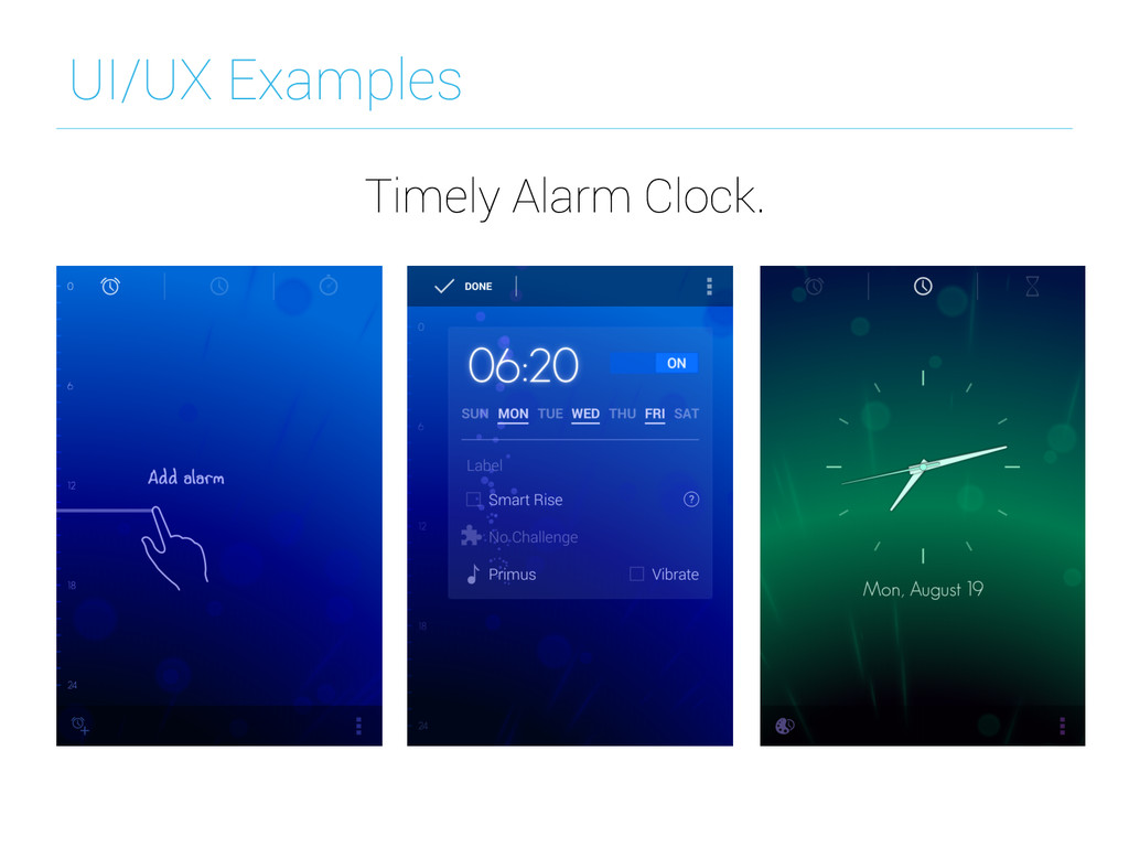 UI/UX Examples Timely Alarm Clock.