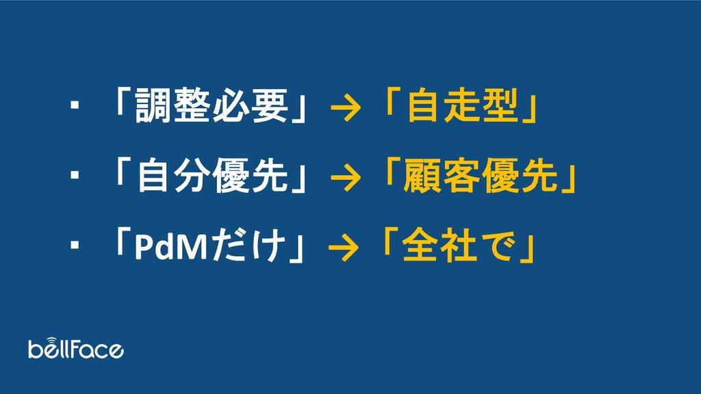 ・「調整必要」→「自走型」 ・「自分優先」→「顧客優先」 ・「PdMだけ」→「全社で」