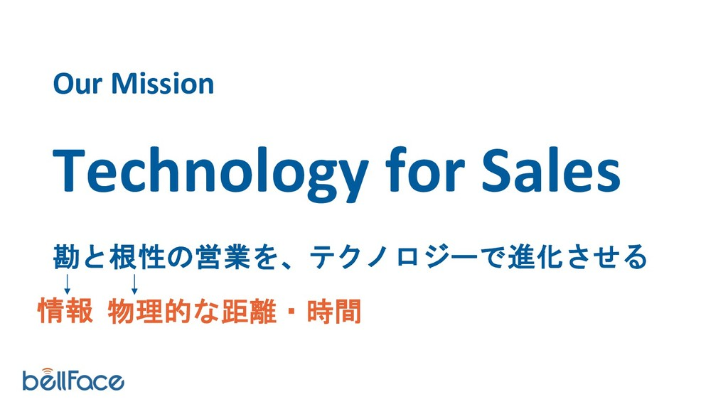 Our Mission Technology for Sales 勘と根性の営業を、テクノロジ...