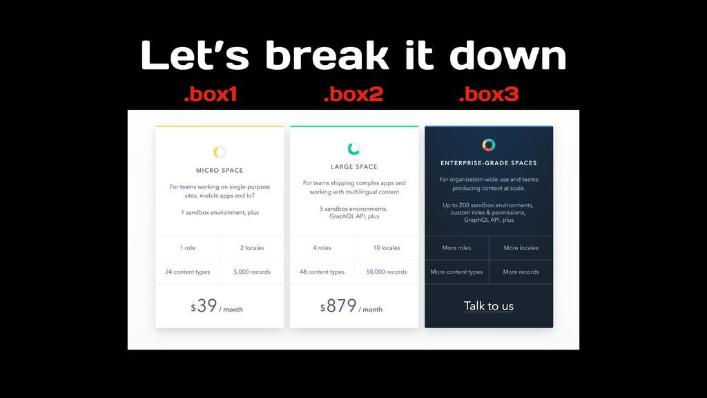 Let's break it down .box1 .box2 .box3