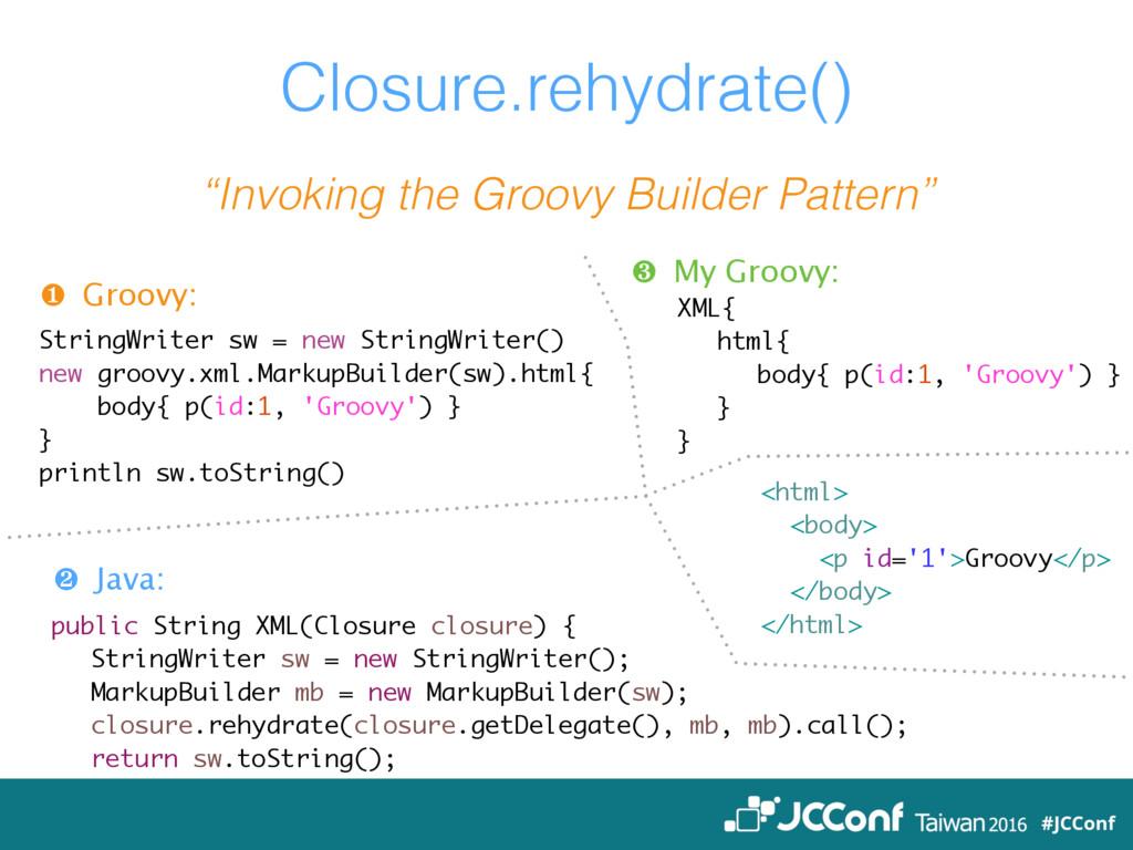 ❶ Groovy: StringWriter sw = new StringWriter() ...