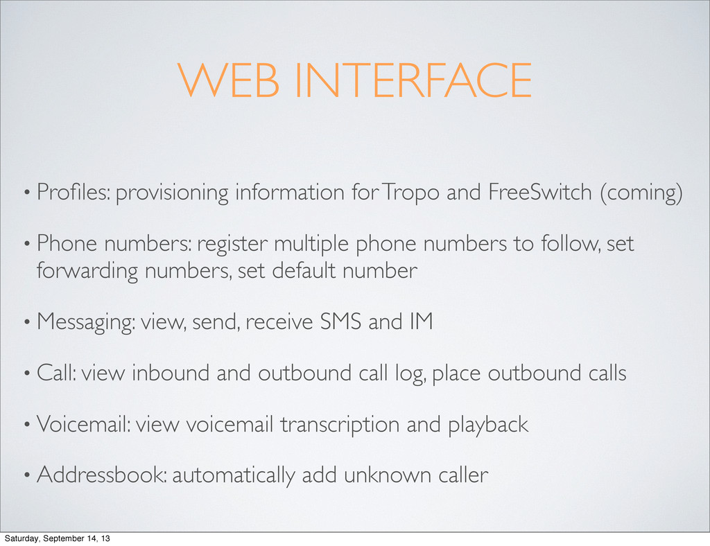 WEB INTERFACE • Profiles: provisioning informati...