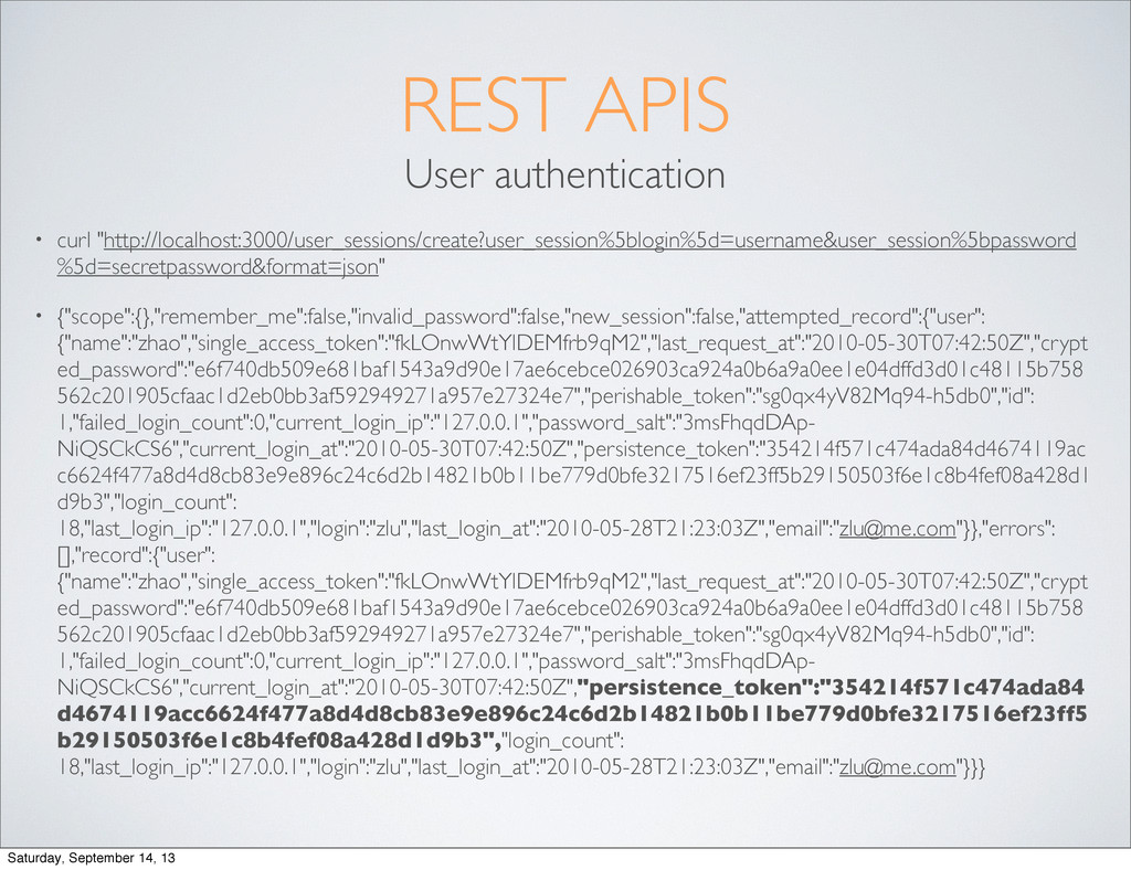 "REST APIS User authentication • curl ""http://lo..."