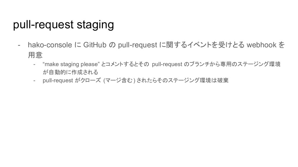 pull-request staging - hako-console に GitHub の ...