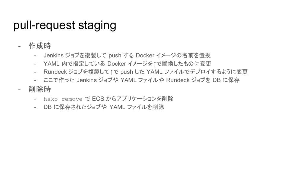 pull-request staging - 作成時 - Jenkins ジョブを複製して p...