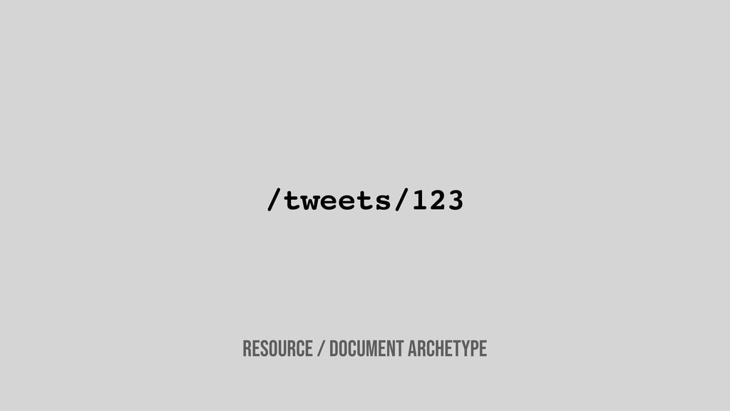 /tweets/123 Resource / document archetype
