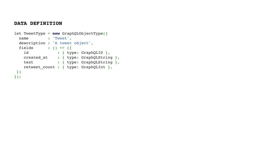 let TweetType = new GraphQLObjectType({ name : ...