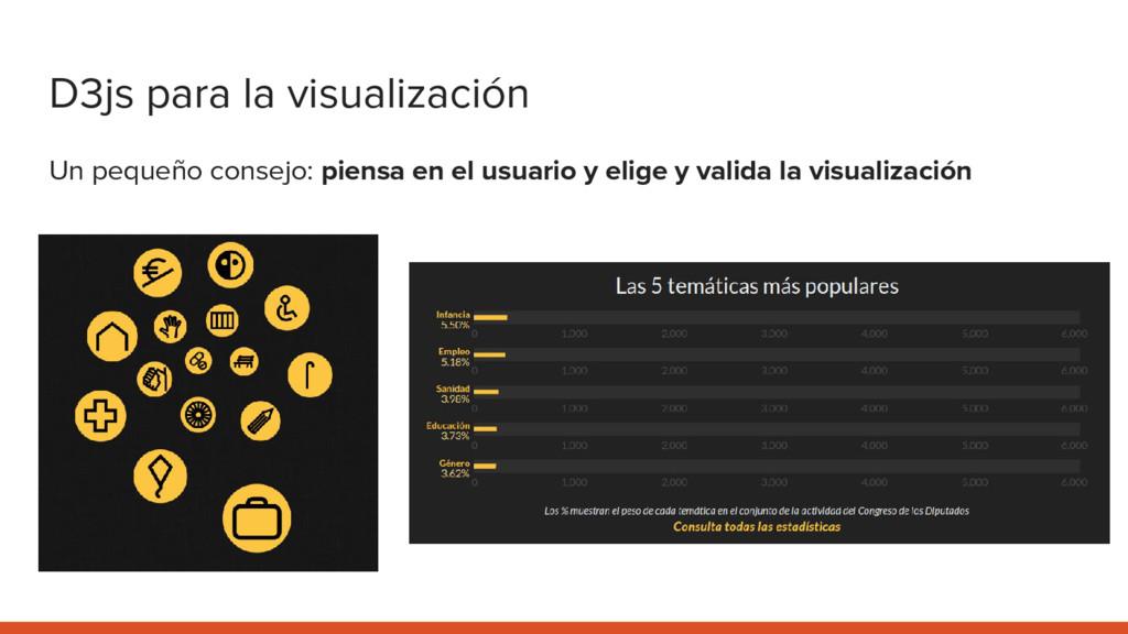 D3js para la visualización Un pequeño consejo: ...