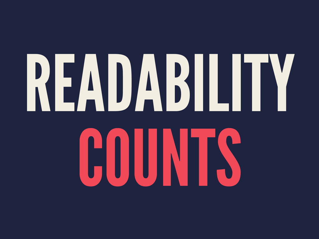 READABILITY COUNTS