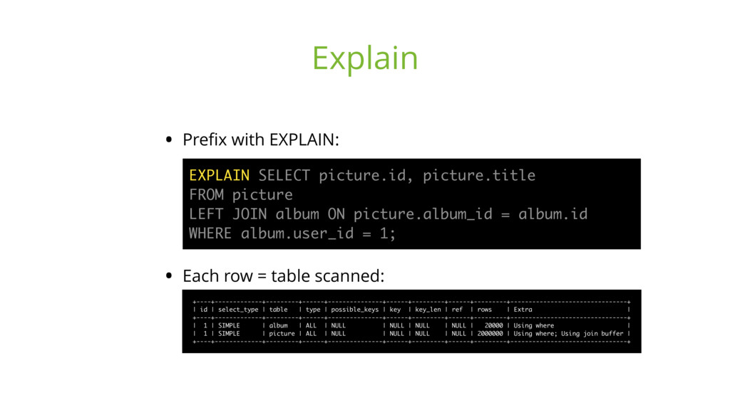 • Prefix with EXPLAIN:
