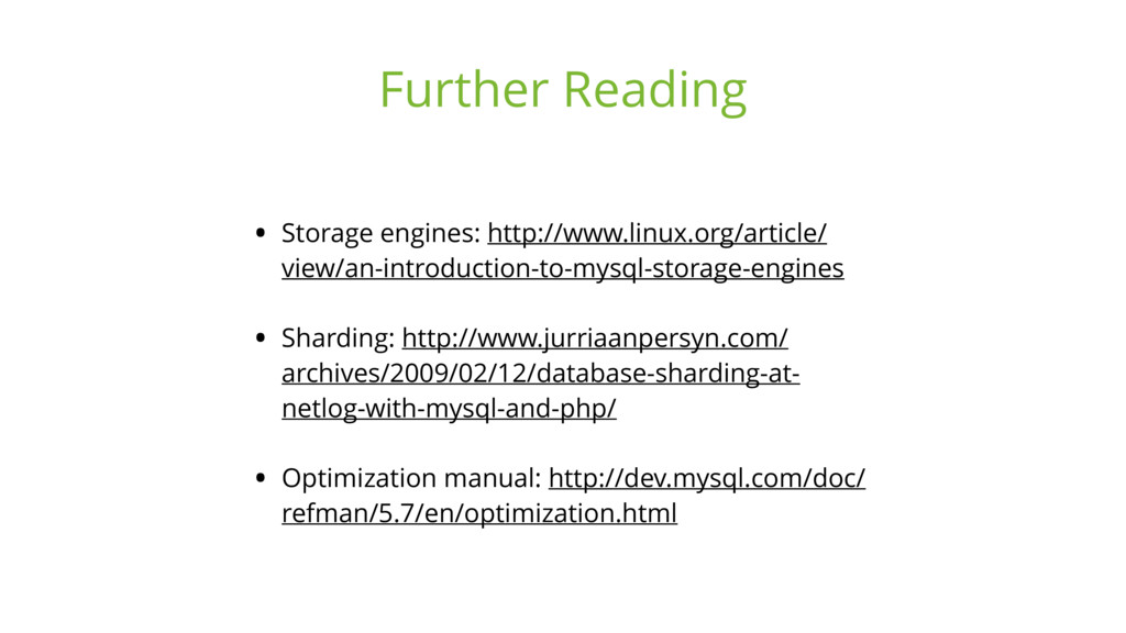 • Storage engines: http://www.linux.org/article...