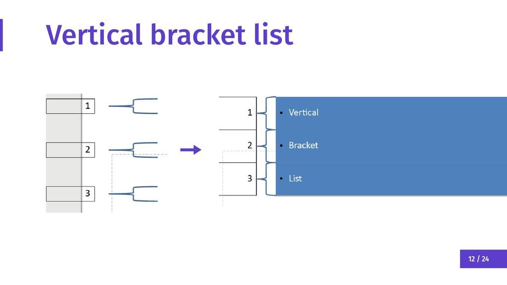 12 / 24 Vertical bracket list