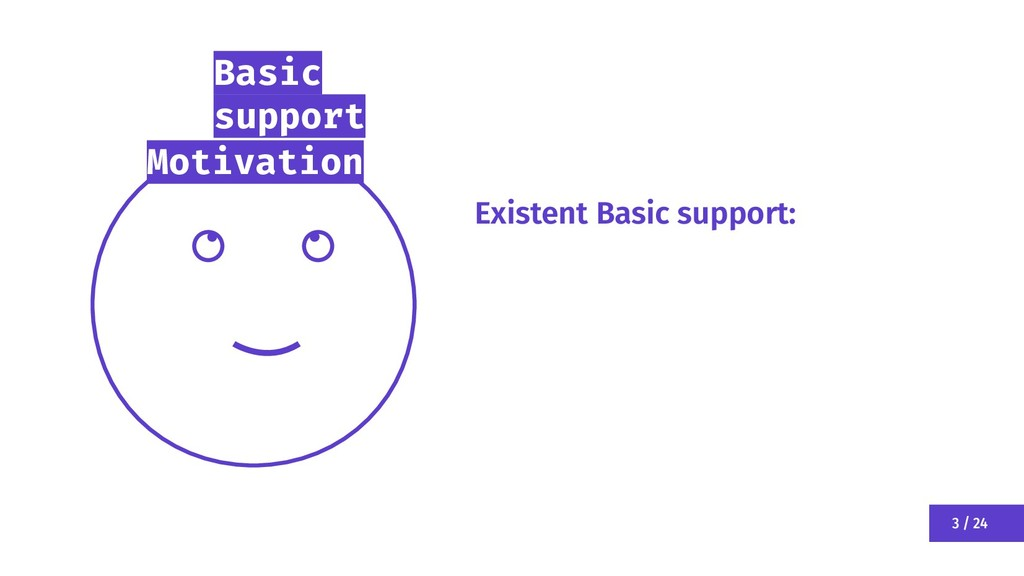 3 / 24 Motivation Existent Basic support: Basic...
