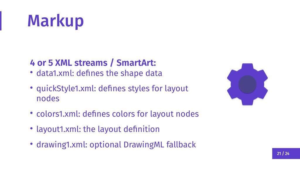 21 / 24 Markup 4 or 5 XML streams / SmartArt: •...