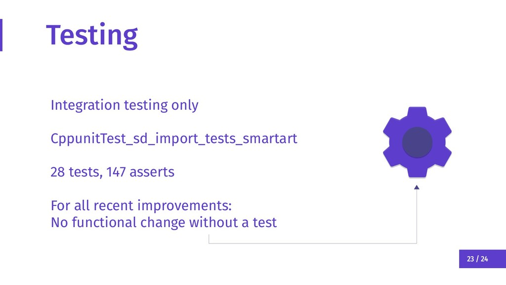 23 / 24 Testing Integration testing only Cppuni...