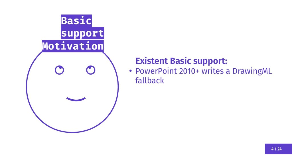 4 / 24 Motivation Basic support Existent Basic ...