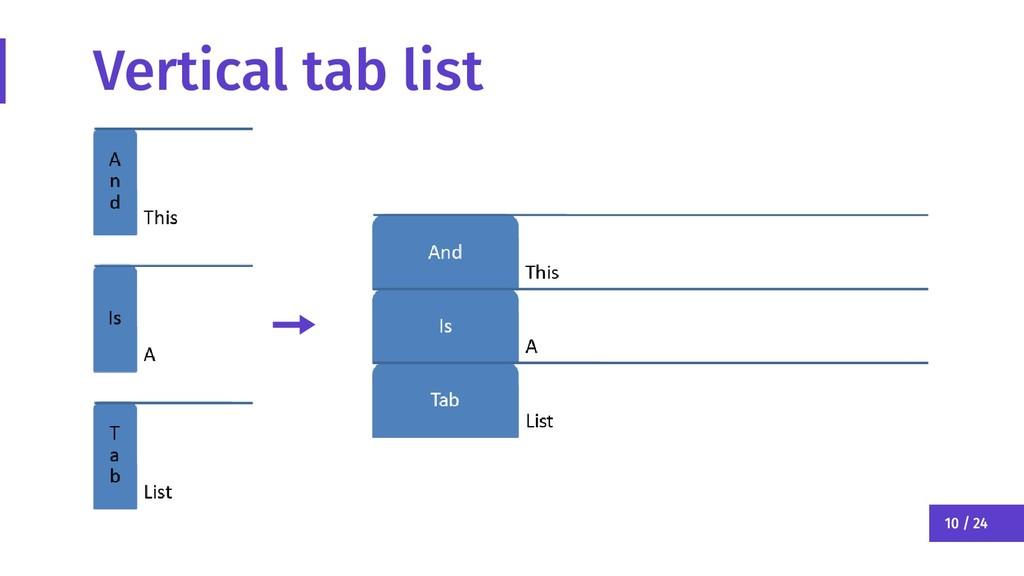 10 / 24 Vertical tab list
