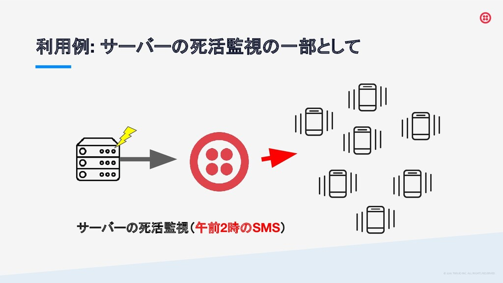© 2019 TWILIO INC. ALL RIGHTS RESERVED. 利用例: サー...