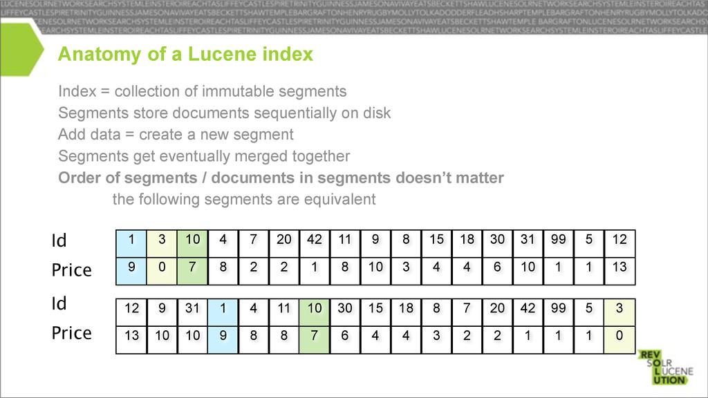 Index = collection of immutable segments Segmen...