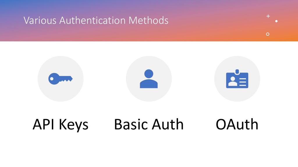 Various Authentication Methods API Keys Basic A...