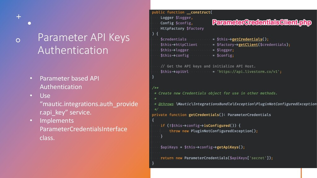 Parameter API Keys Authentication • Parameter b...