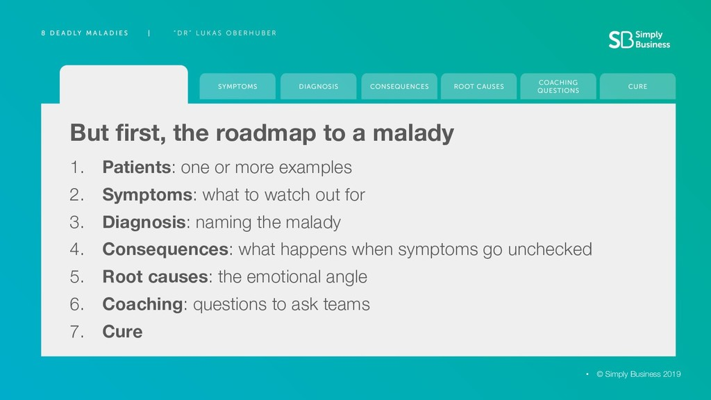 But first, the roadmap to a malady 1. Patients: ...