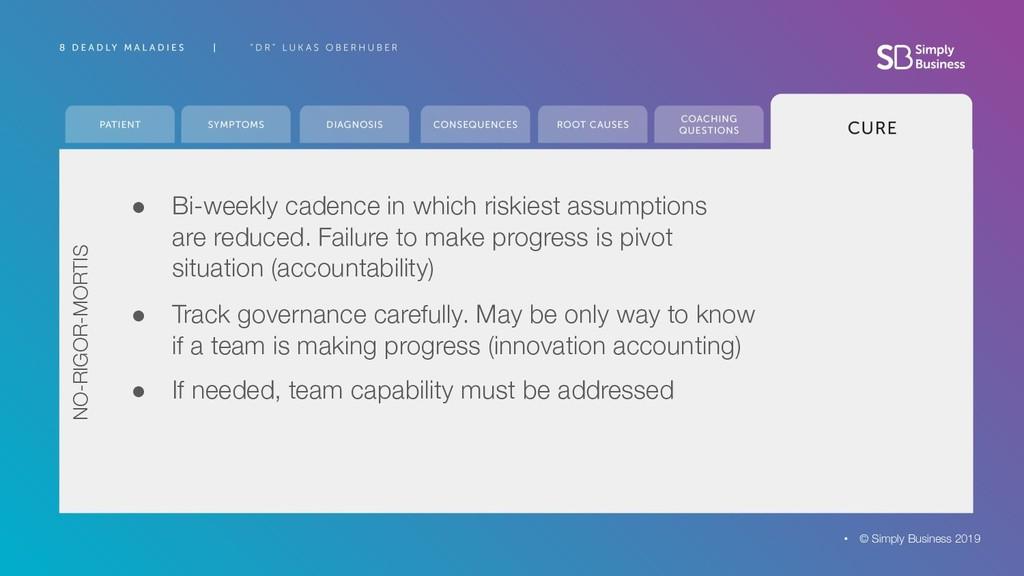 ● Bi-weekly cadence in which riskiest assumptio...