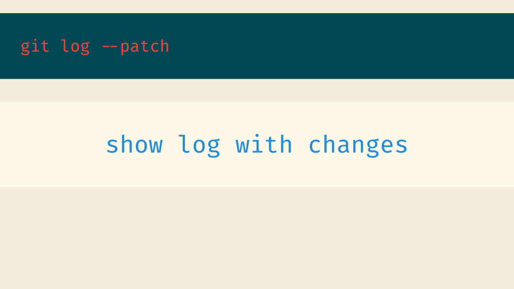 git log --patch show log with changes