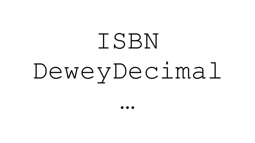 ISBN DeweyDecimal …
