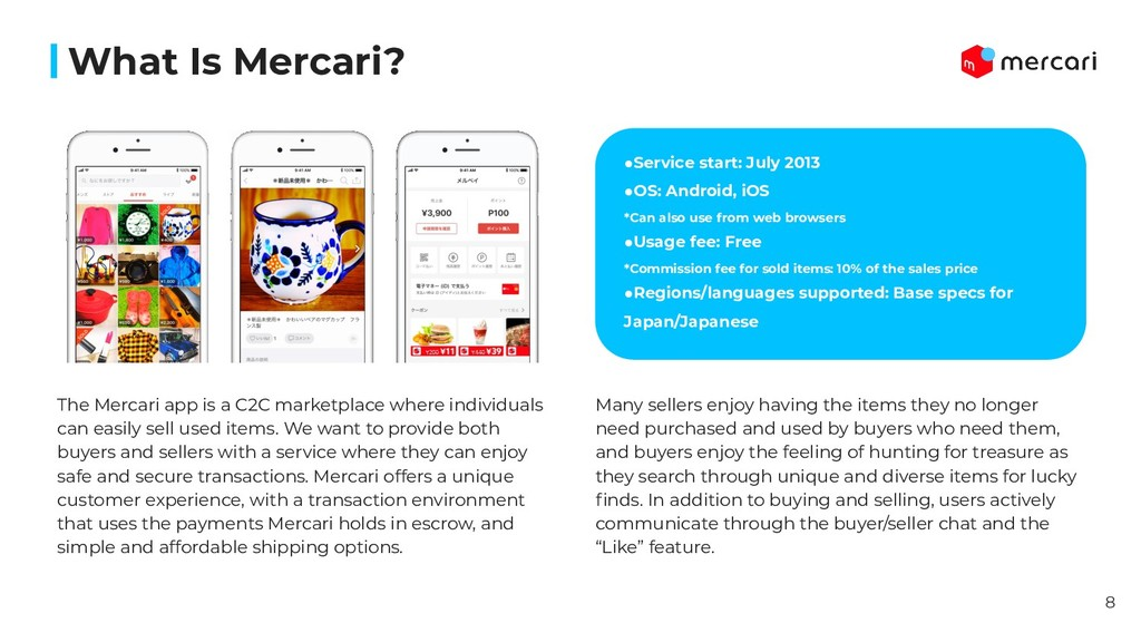 What Is Mercari? ●Service start: July 2013 ●OS:...
