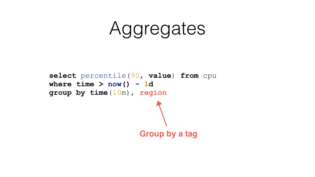 Aggregates select percentile(90, value) from cp...