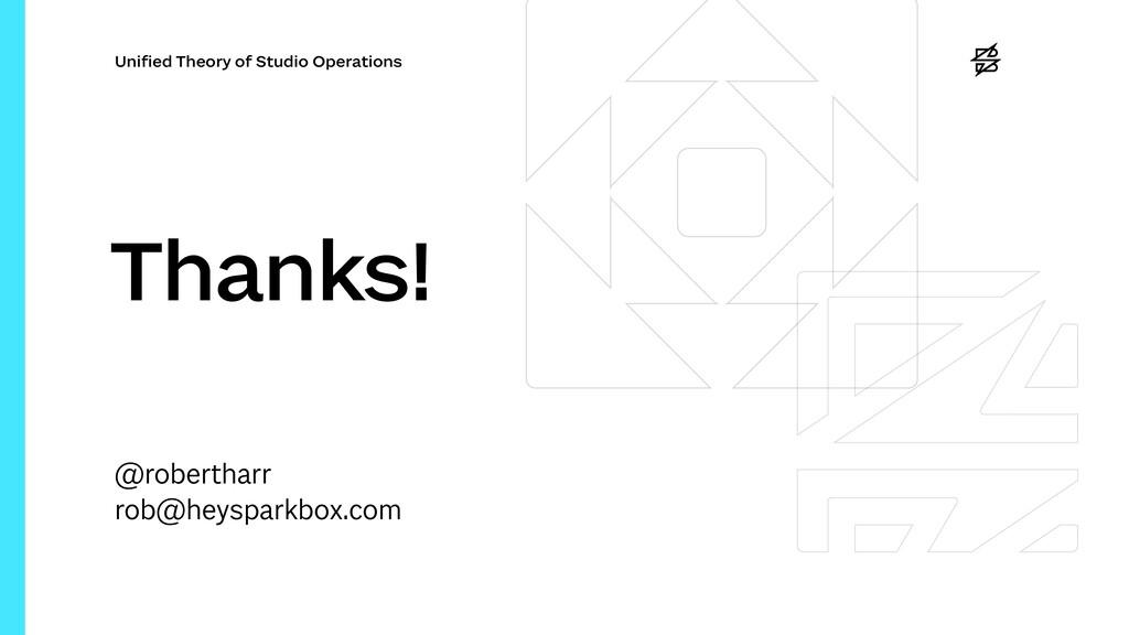 Uni fi ed Theory of Studio Operations Thanks! @...