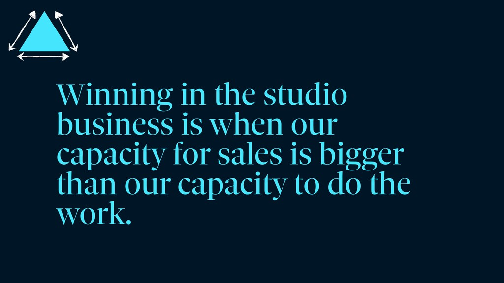 Winning in the studio business is when our capa...