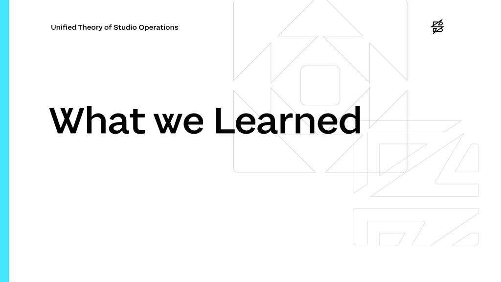 Uni fi ed Theory of Studio Operations What we L...