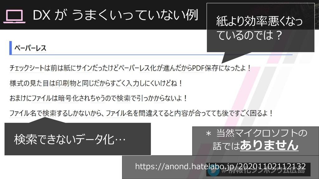#情報化シンポジウム広島 DX が うまくいっていない例 28 https://anond.h...