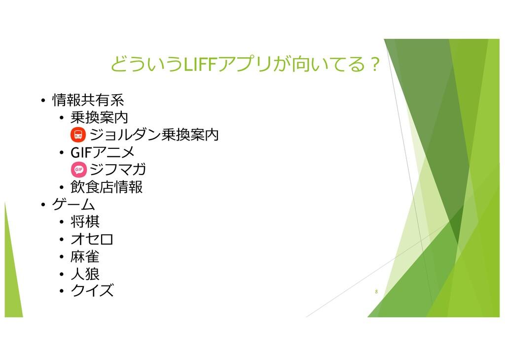 どういうLIFFアプリが向いてる︖ 8 • 情報共有系 • 乗換案内 • ジョルダン乗換案内 ...