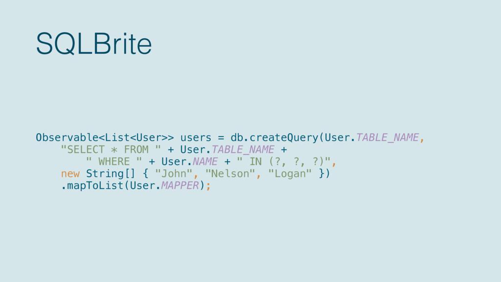 SQLBrite Observable<List<User>> users = db.crea...