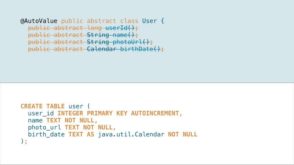 @AutoValue public abstract class User { public...