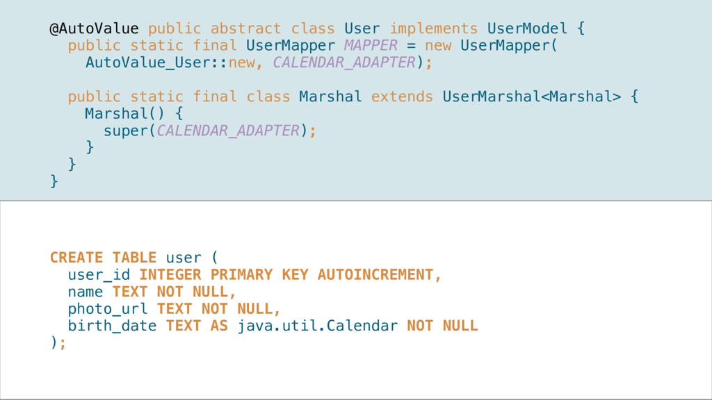 @AutoValue public abstract class User implement...