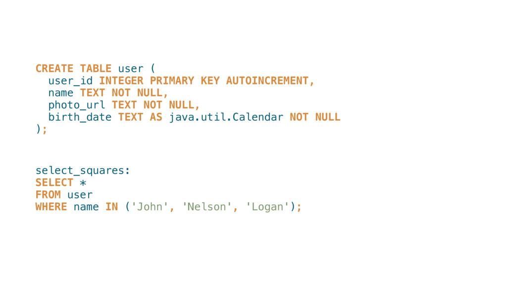 CREATE TABLE user ( user_id INTEGER PRIMARY KE...