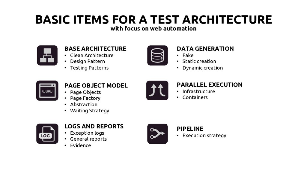 BASIC ITEMS FOR A TEST ARCHITECTURE with focus ...