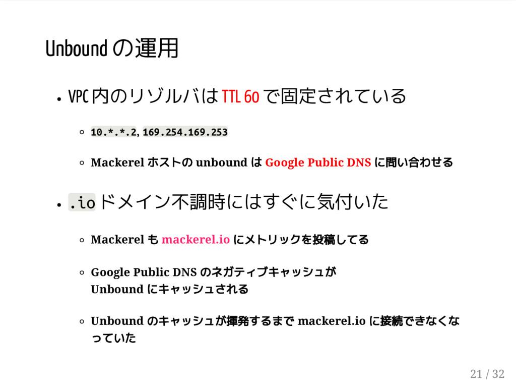 Unbound の運用 VPC 内のリゾルバは TTL 60 で固定されている 10.*.*....