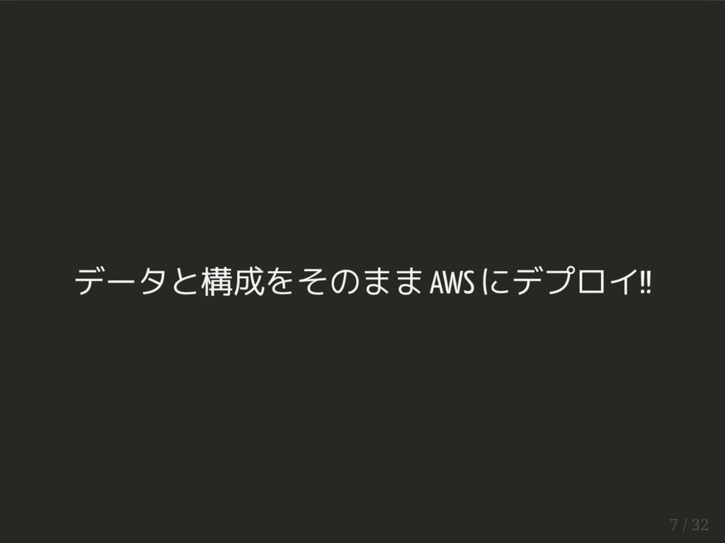 データと構成をそのまま AWS にデプロイ!! 7 / 32
