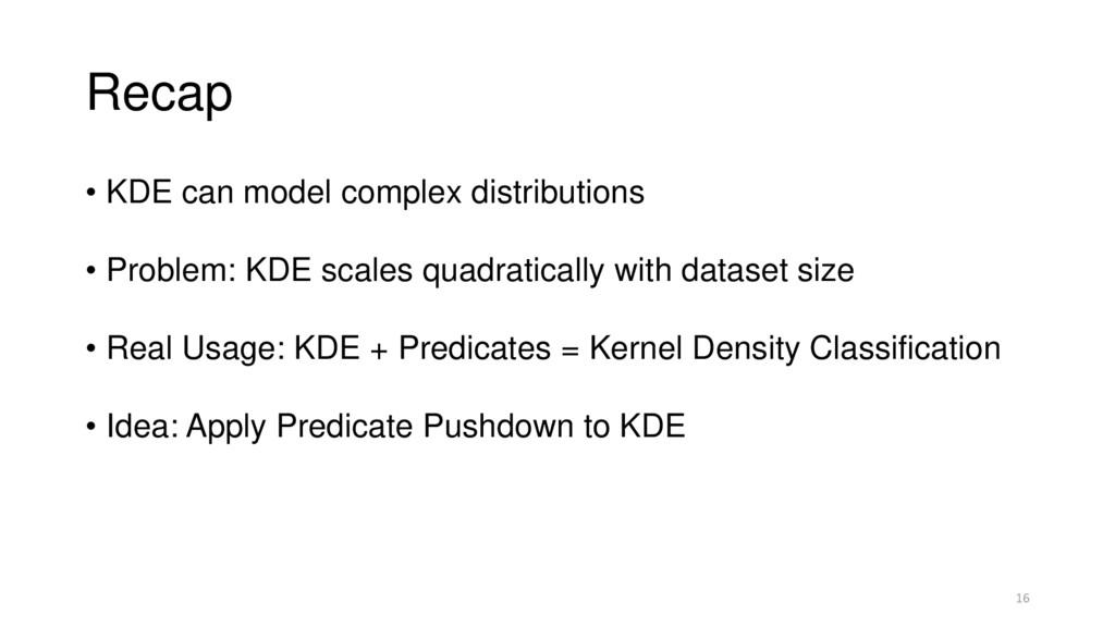 Recap • KDE can model complex distributions • P...