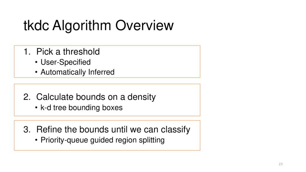 tkdc Algorithm Overview 1. Pick a threshold • U...